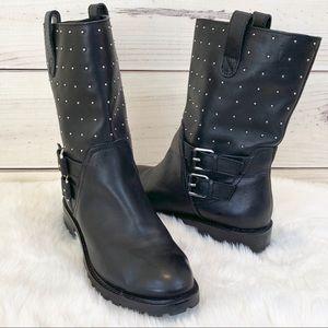 BANANA REPUBLIC Stud Moto Boot Black Leather 8.5